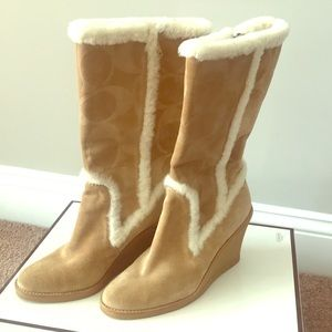 Coach Jordana suede shearling lined wedge boots